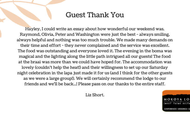 Testimonial for Mokoya Lodge